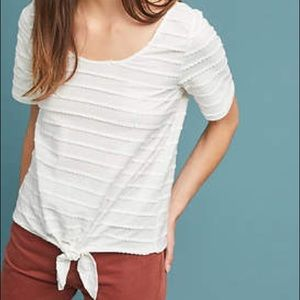 Anthro Tailleferre Tie Front Tee in Ivory
